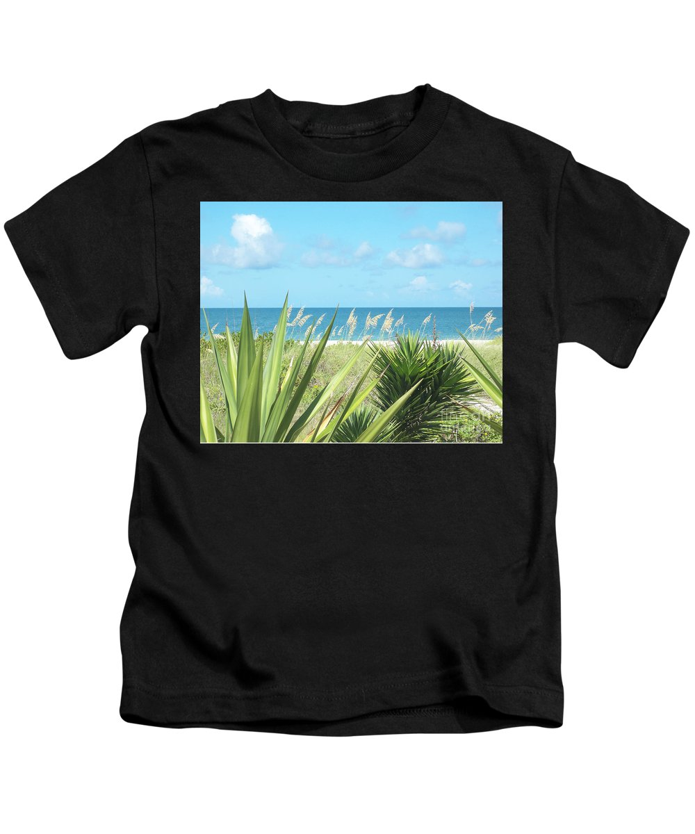 Florida Kids T-Shirt featuring the photograph Peeking Sea by Chris Andruskiewicz