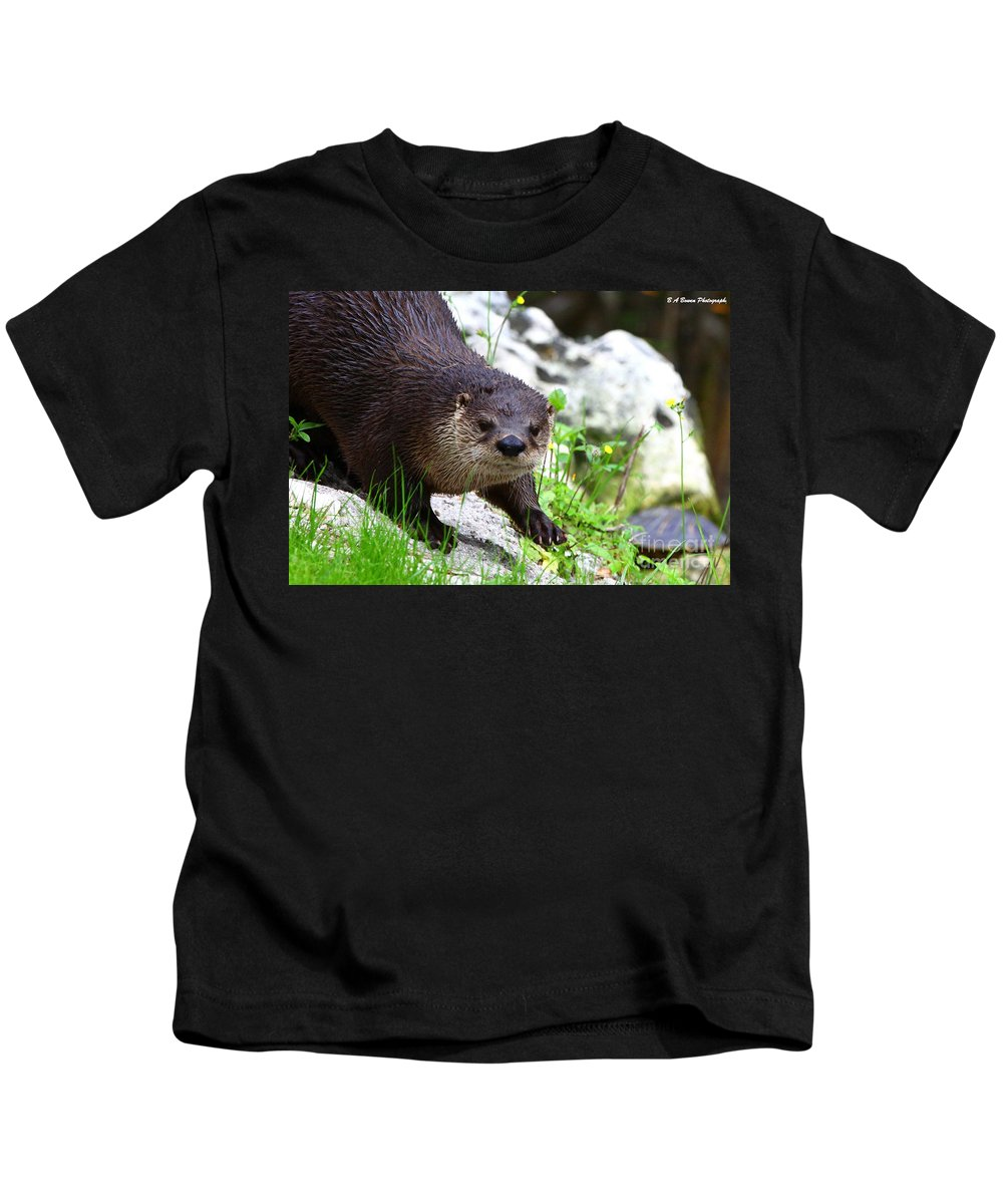 Otter Kids T-Shirt featuring the photograph Peering Otter by Barbara Bowen