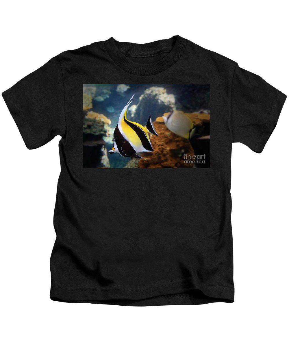 Hawaii Kids T-Shirt featuring the photograph Pennant Coralfish by DJ Florek