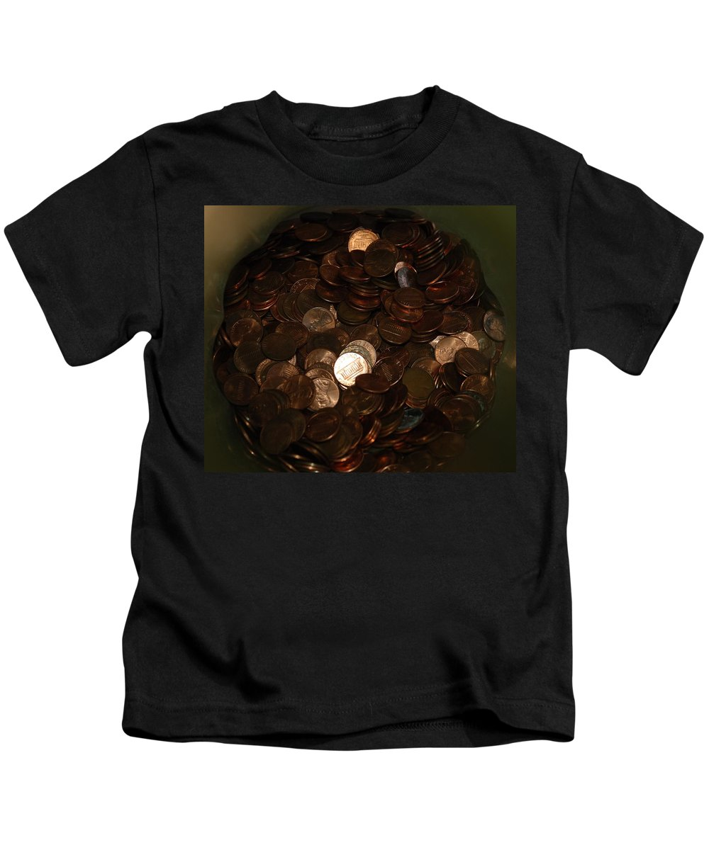 Pennies Kids T-Shirt featuring the photograph Pennies by Rob Hans
