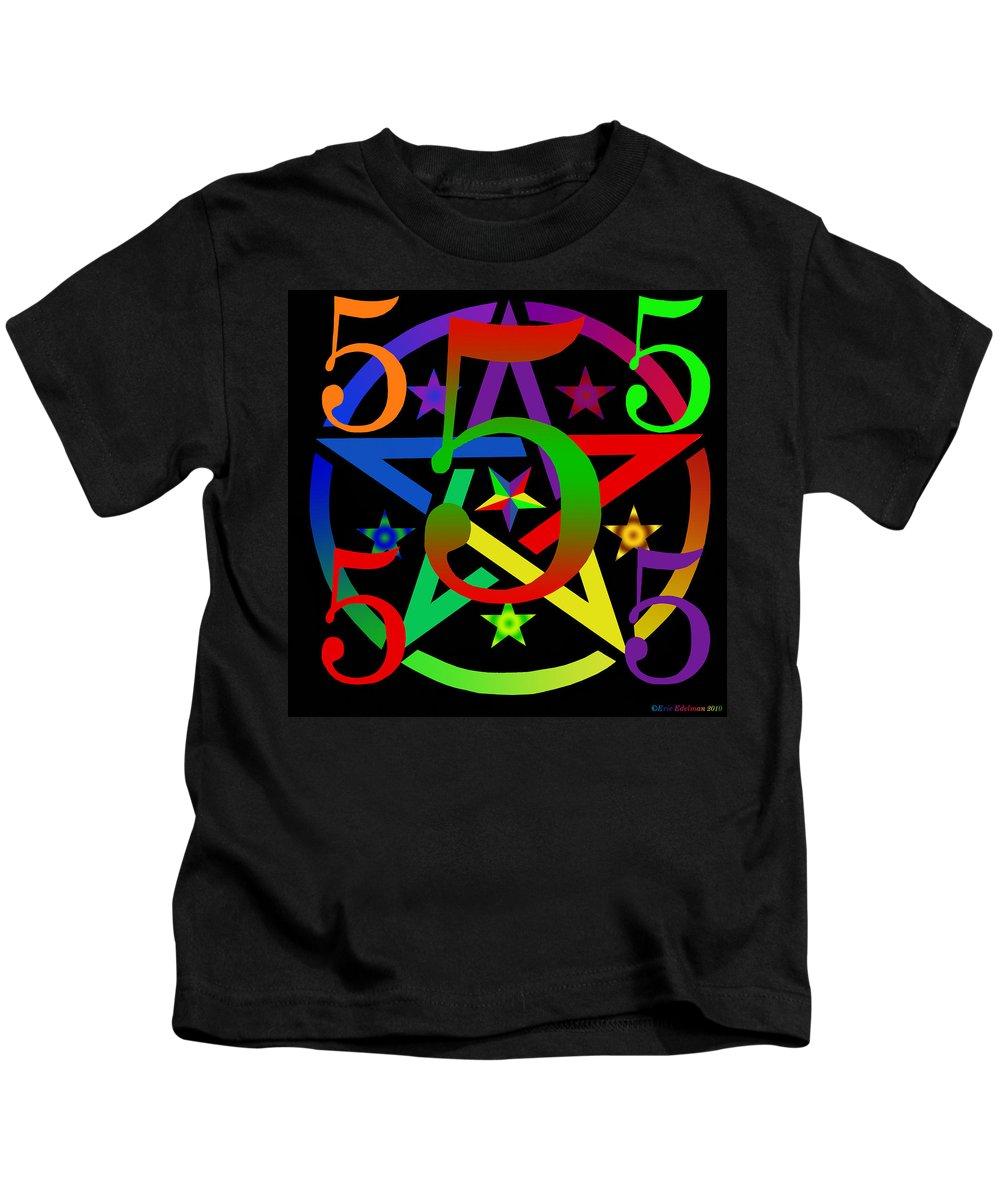 Pentacle Kids T-Shirt featuring the digital art Penta Pentacle In Black by Eric Edelman