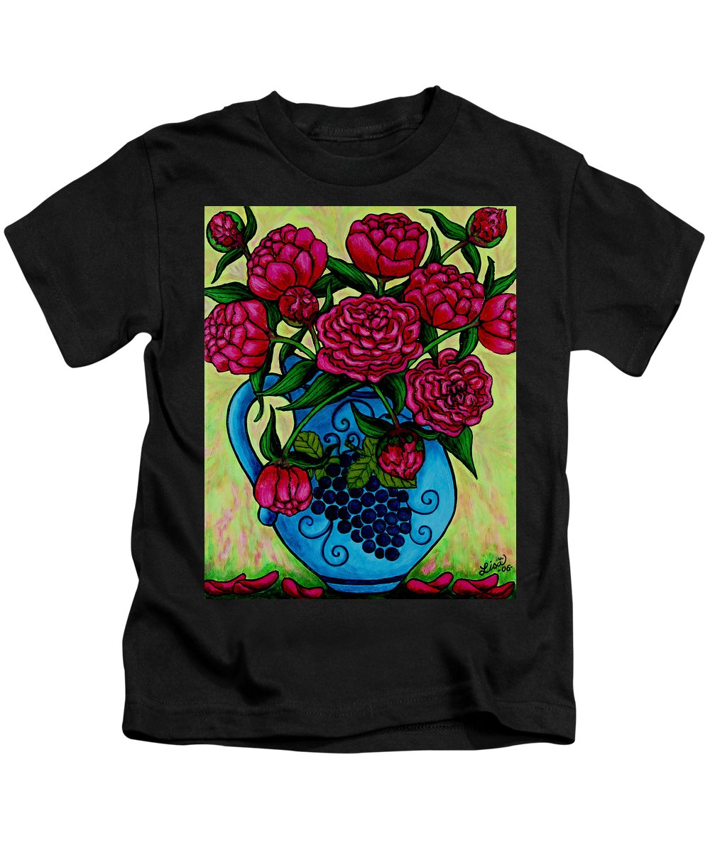 Peonies Kids T-Shirt featuring the painting Peony Party by Lisa Lorenz