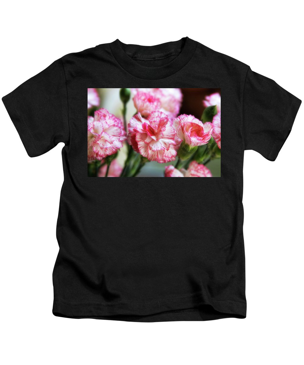 Carnations Kids T-Shirt featuring the photograph Peppermint by Joan Bertucci