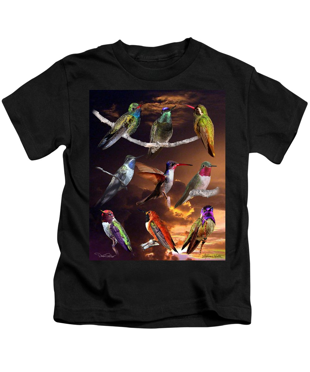 Hummingbird Collage Kids T-Shirt featuring the photograph Perched Hummingbird Collage by David Salter
