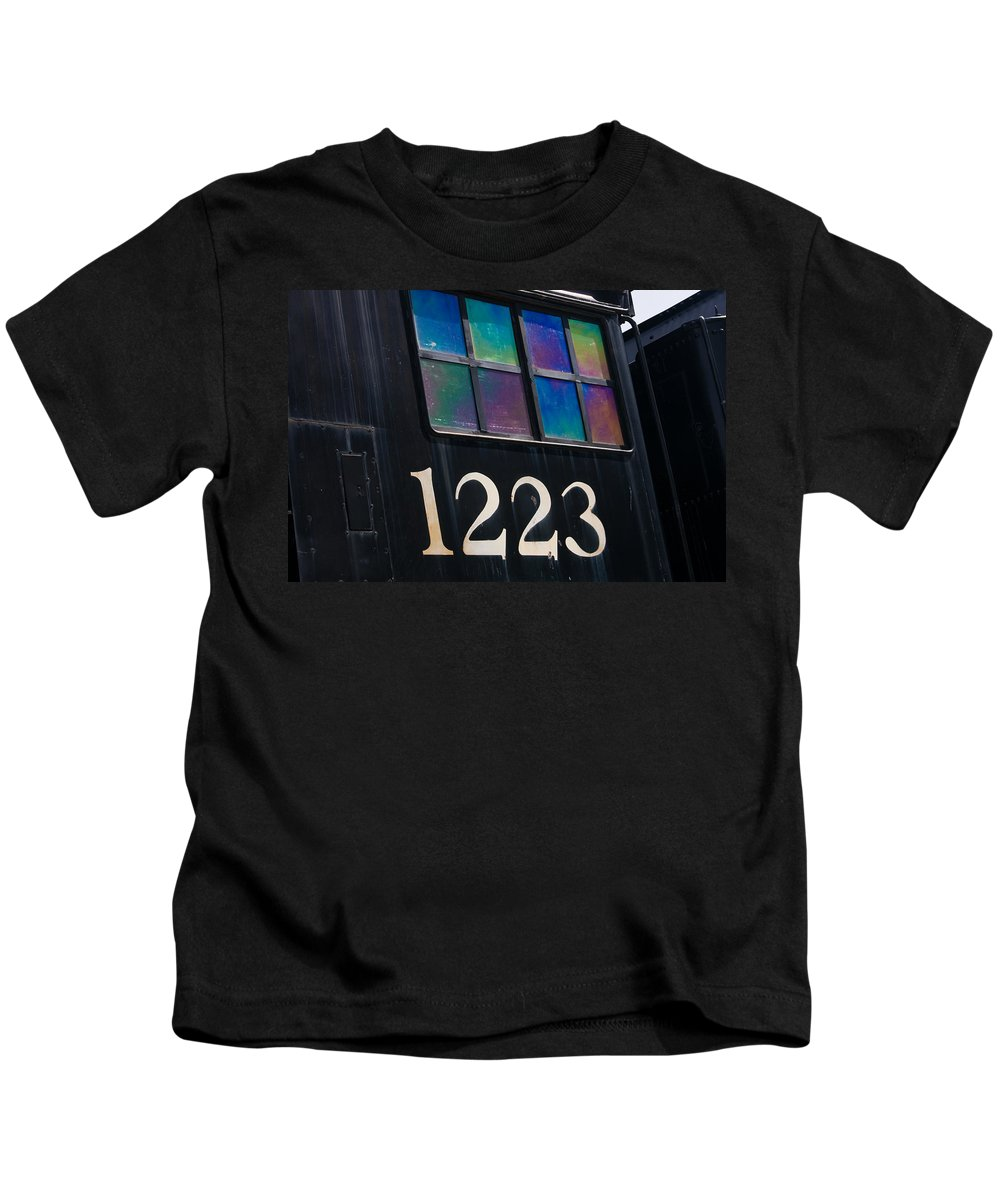 3scape Kids T-Shirt featuring the photograph Pere Marquette Locomotive 1223 by Adam Romanowicz