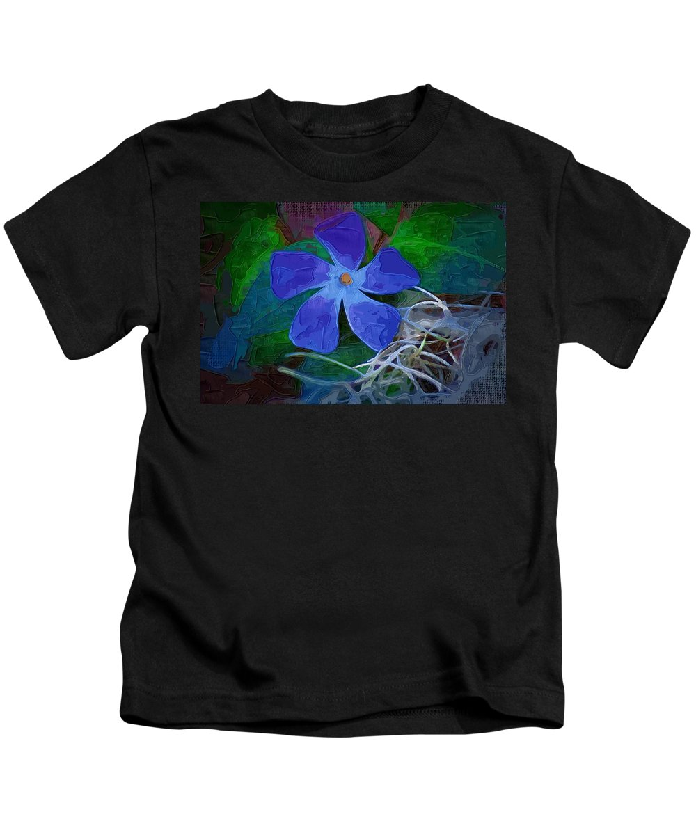Flower Kids T-Shirt featuring the digital art Periwinkle Blue by Donna Bentley