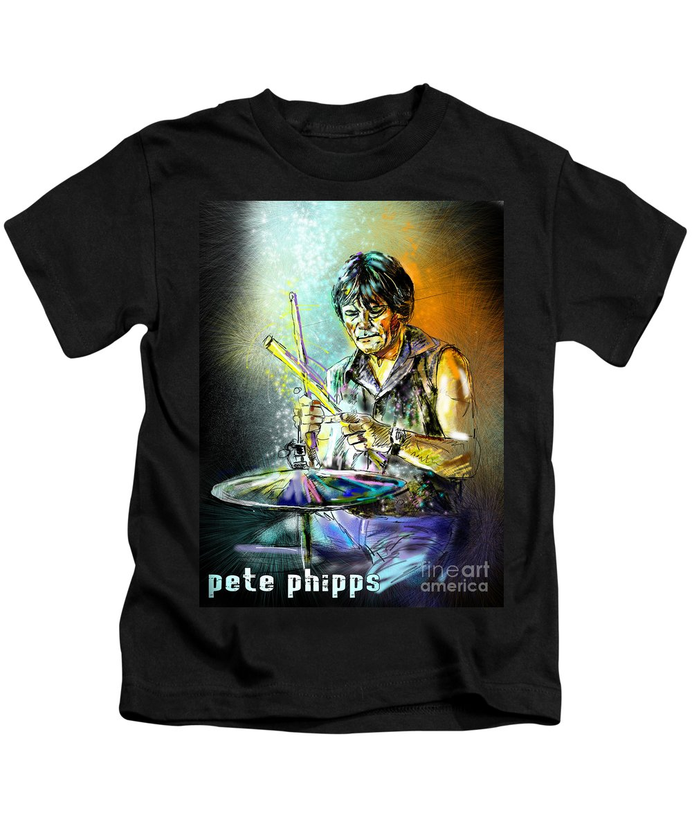 Pete Phipps Portrait Kids T-Shirt featuring the digital art Pete Phipps by Miki De Goodaboom