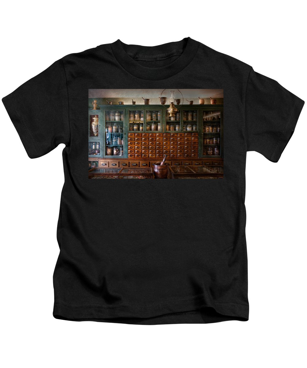 Doctor Kids T-Shirt featuring the photograph Pharmacy - Right Behind The Counter by Mike Savad