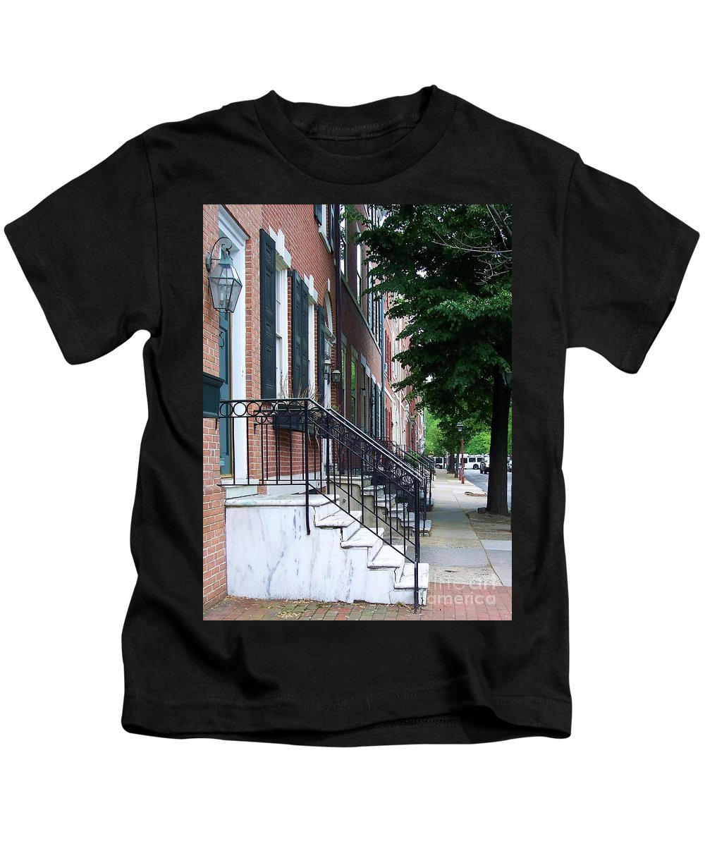 Architecture Kids T-Shirt featuring the photograph Philadelphia Neighborhood by Debbi Granruth