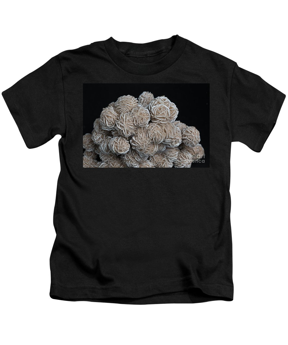 Barite Kids T-Shirt featuring the photograph Phosphorescent Desert Rose Barite by Ted Kinsman