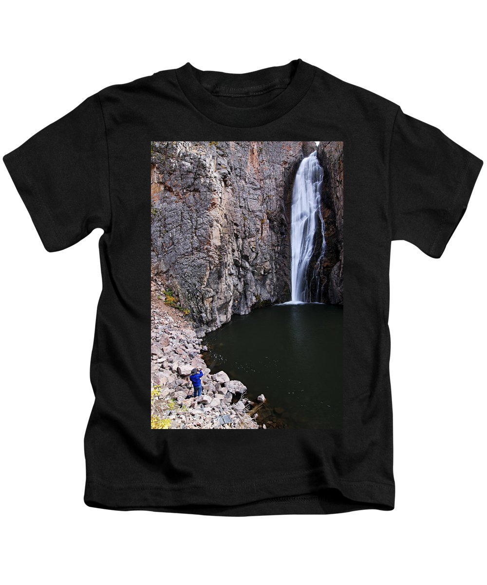 Porcupine Falls Kids T-Shirt featuring the photograph Photographing Porcupine Falls by Larry Ricker