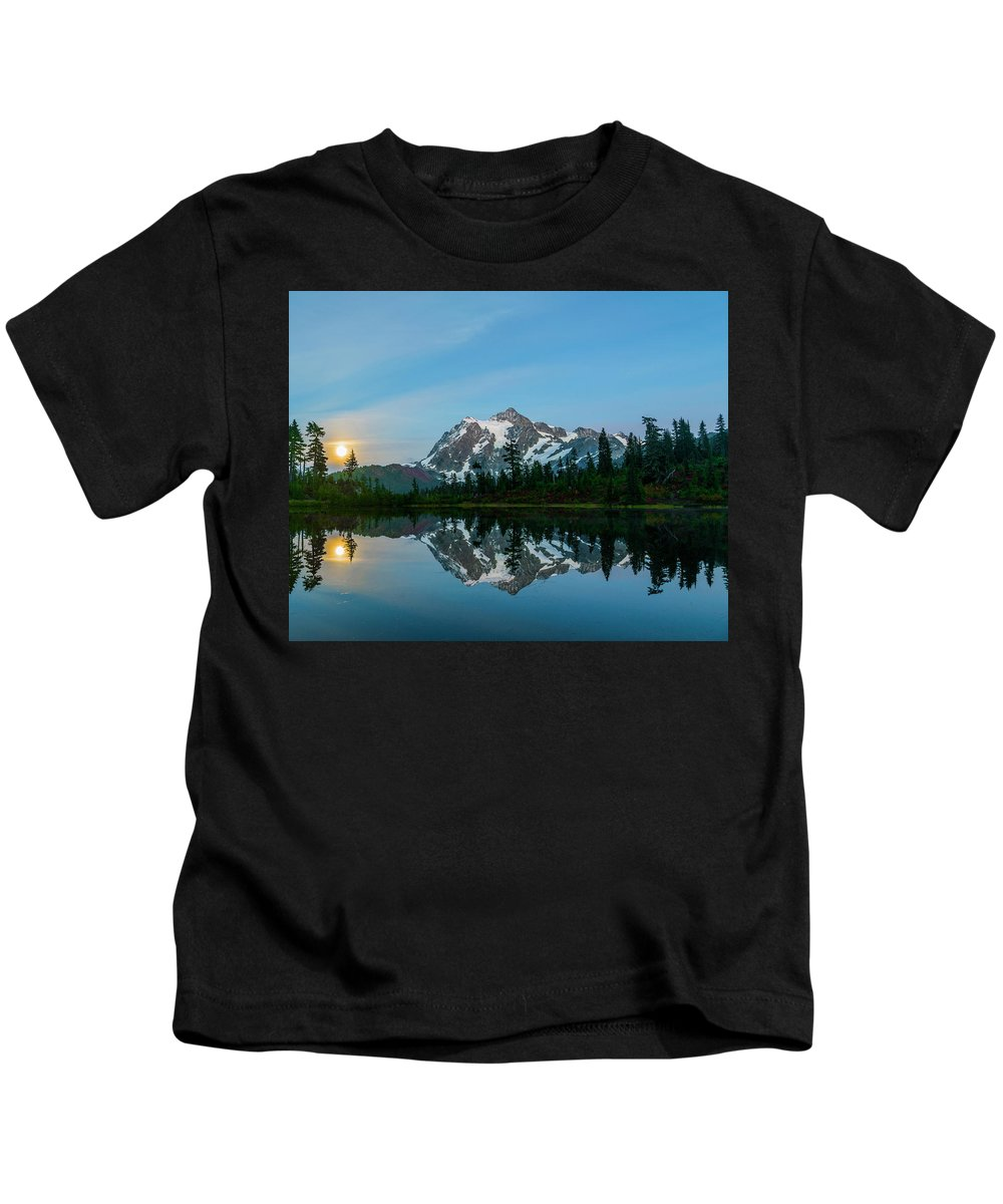 Mountain Kids T-Shirt featuring the photograph Picture Lake At Night by Christopher Swafford