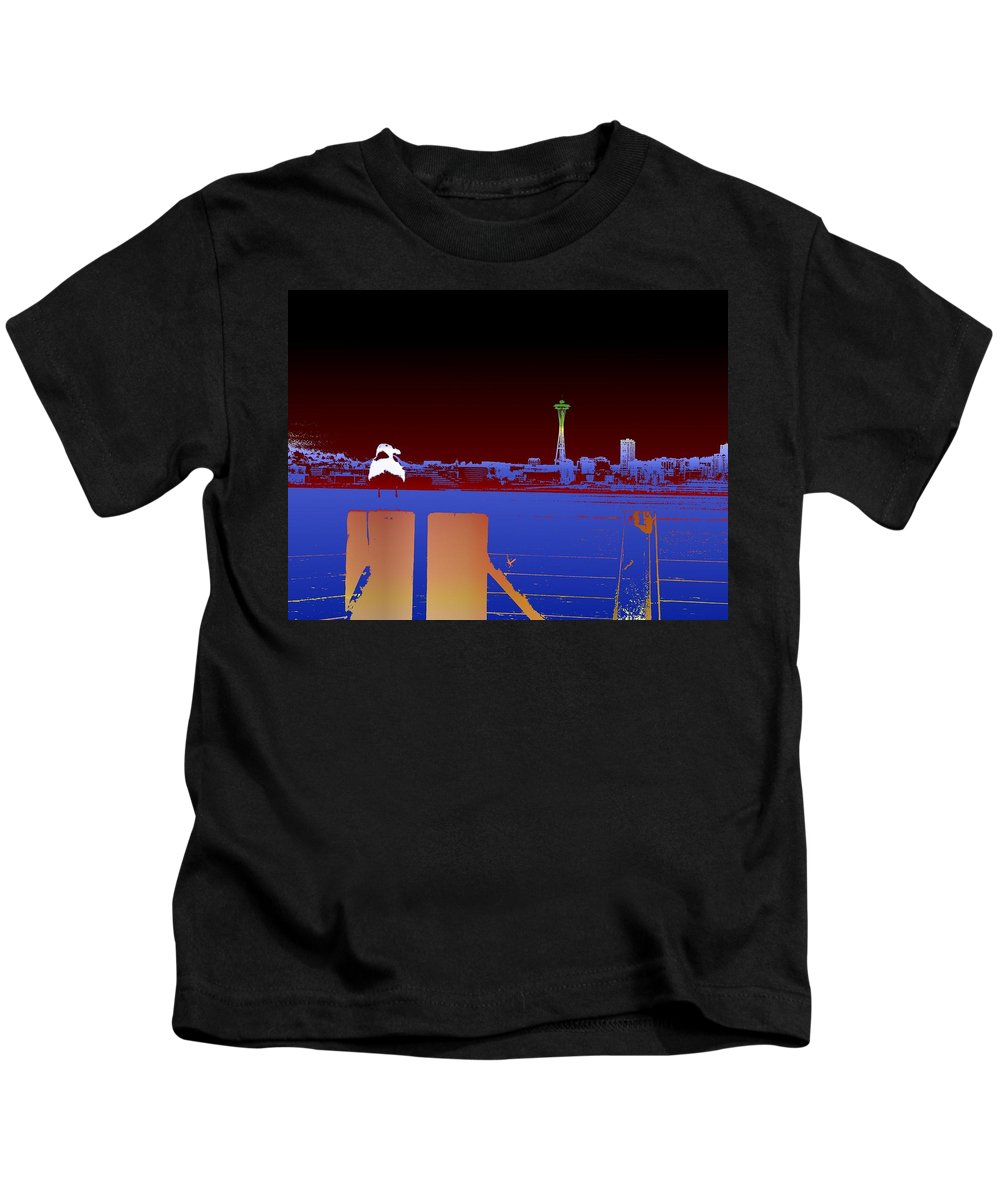 Seattle Kids T-Shirt featuring the digital art Pier With A View by Tim Allen