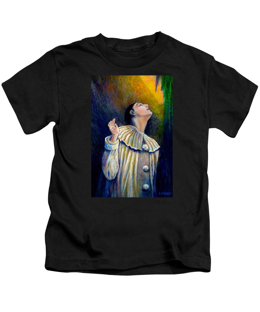 Clown Kids T-Shirt featuring the painting Pierrot's Peering Into The Light by Michael Durst