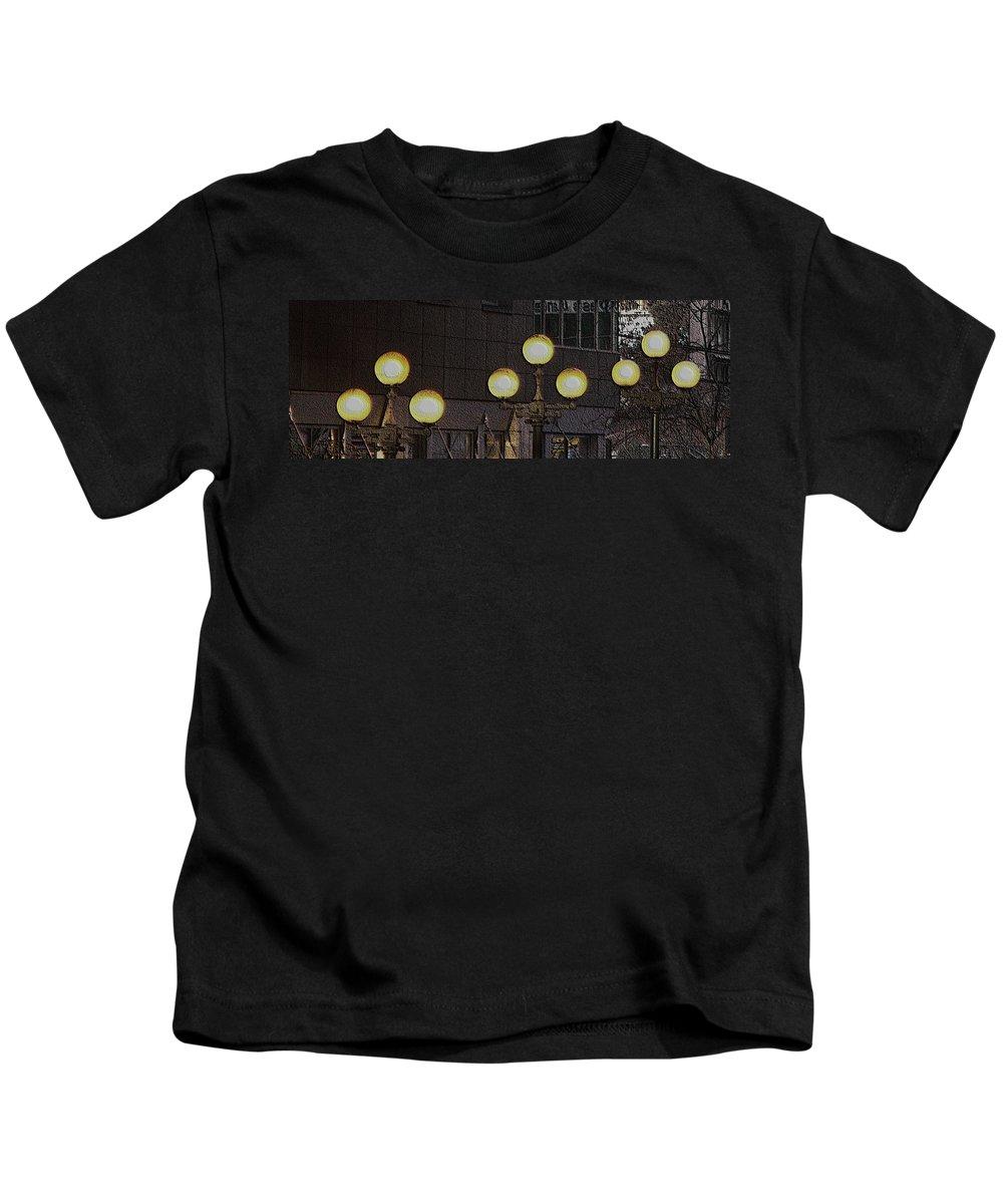 Seattle Kids T-Shirt featuring the digital art Pike Lights by Tim Allen