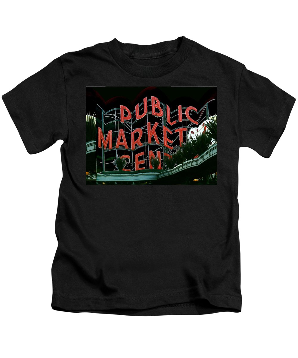 Seattle Kids T-Shirt featuring the digital art Pike Place Market Entrance 5 by Tim Allen