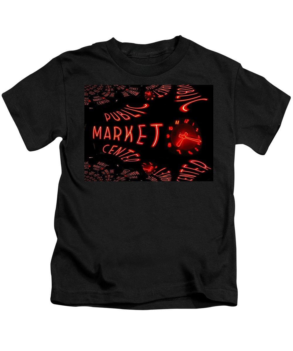 Seattle Kids T-Shirt featuring the digital art Pike Place Market Entrance 6 by Tim Allen