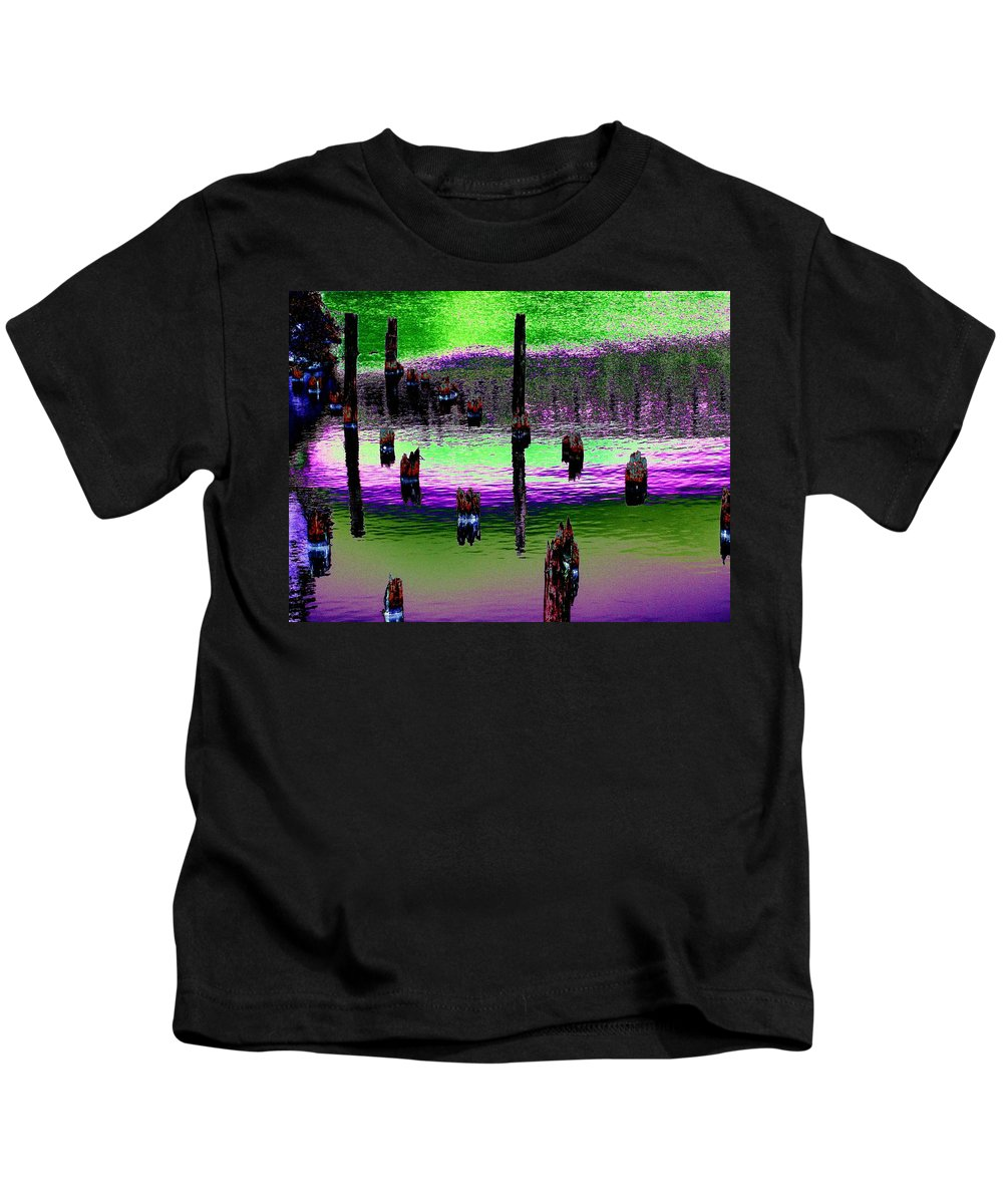 Pilings Kids T-Shirt featuring the photograph Pilings Of The Past by Tim Allen
