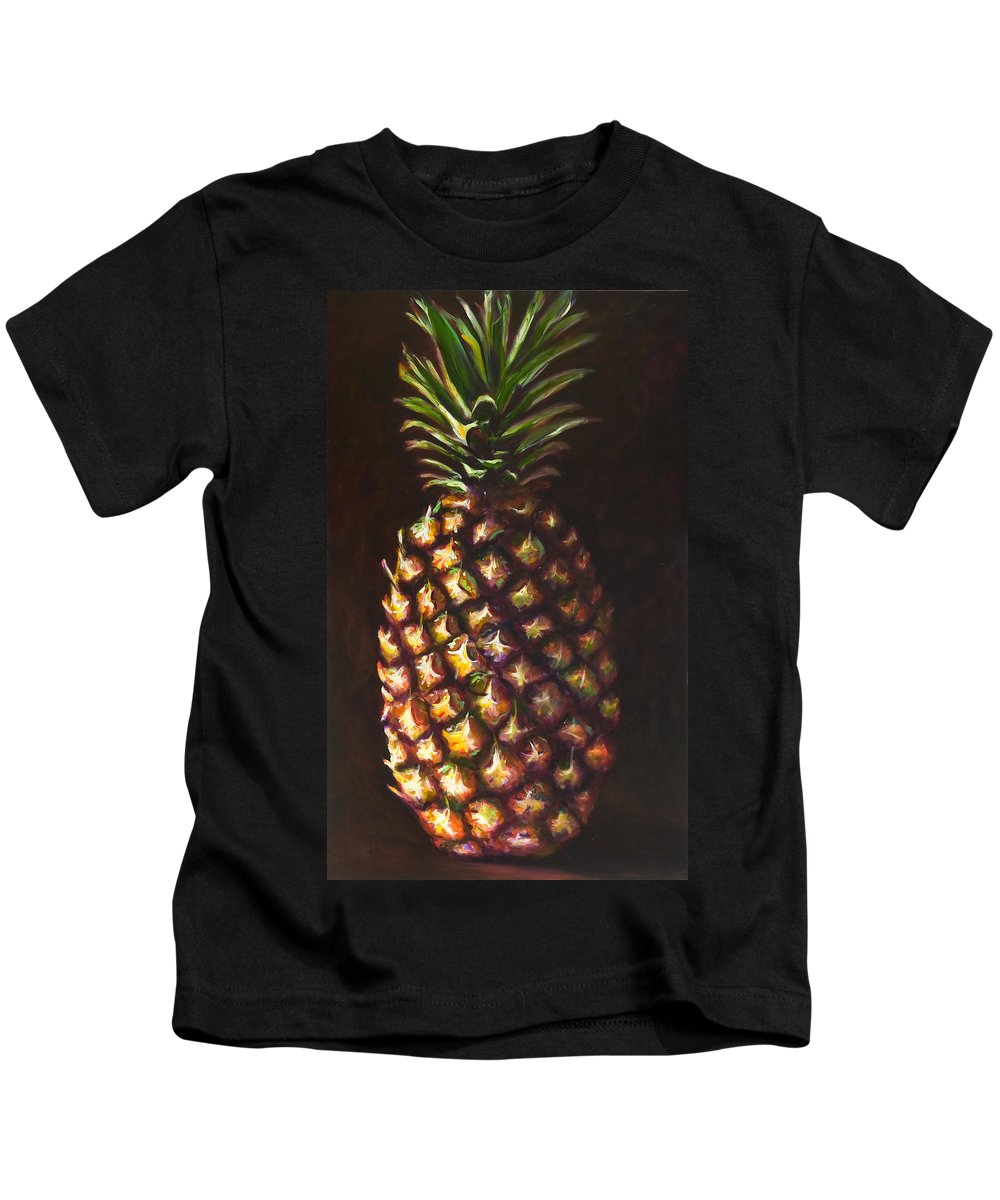 Fruit Kids T-Shirt featuring the painting Pine Apple by Shannon Grissom