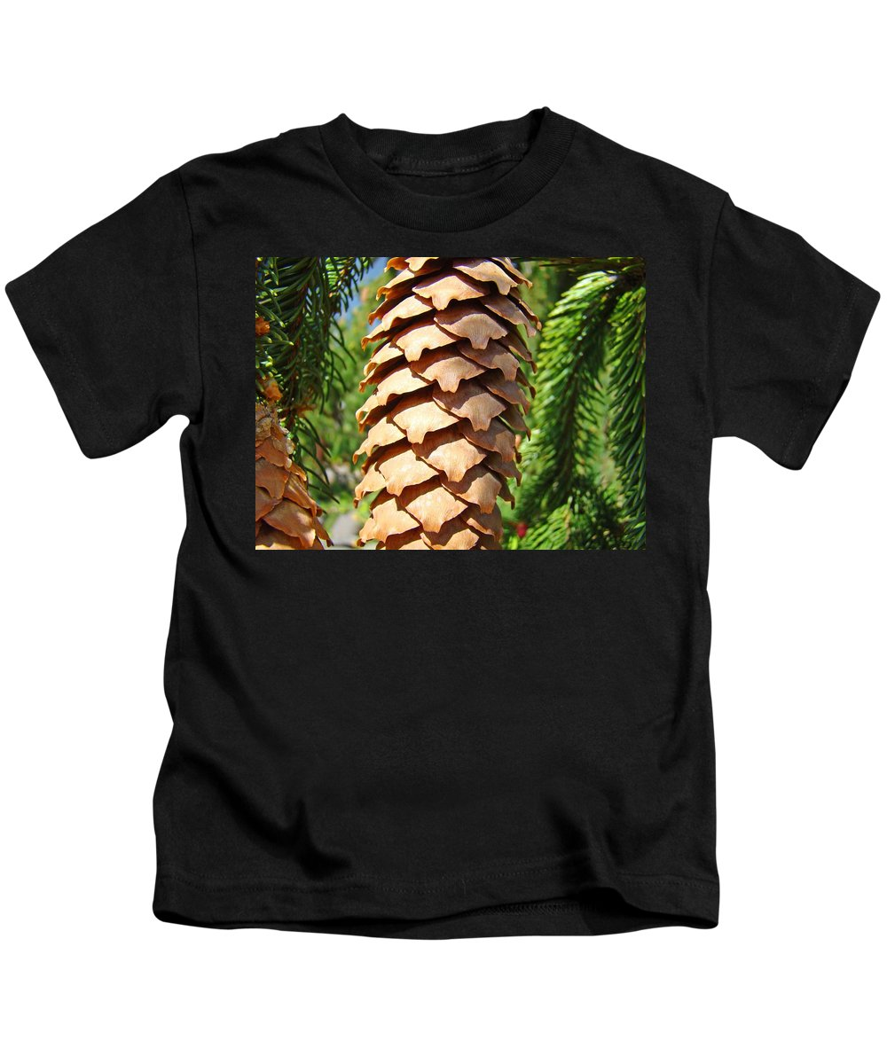 Pine Kids T-Shirt featuring the photograph Pine Cone Art Prints Pine Tree Artwork Baslee Troutman by Baslee Troutman
