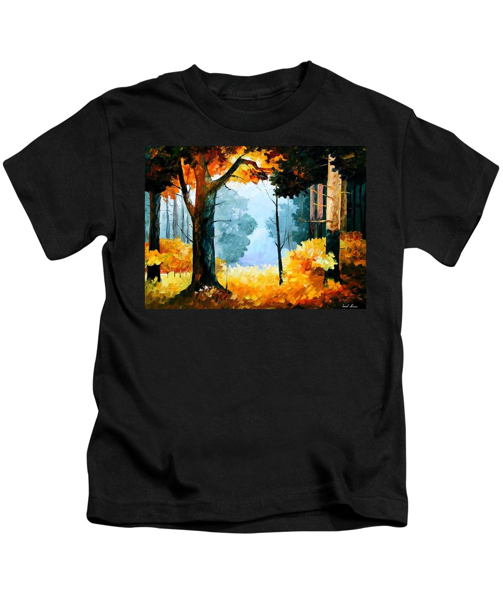 Afremov Kids T-Shirt featuring the painting Pine Wood by Leonid Afremov