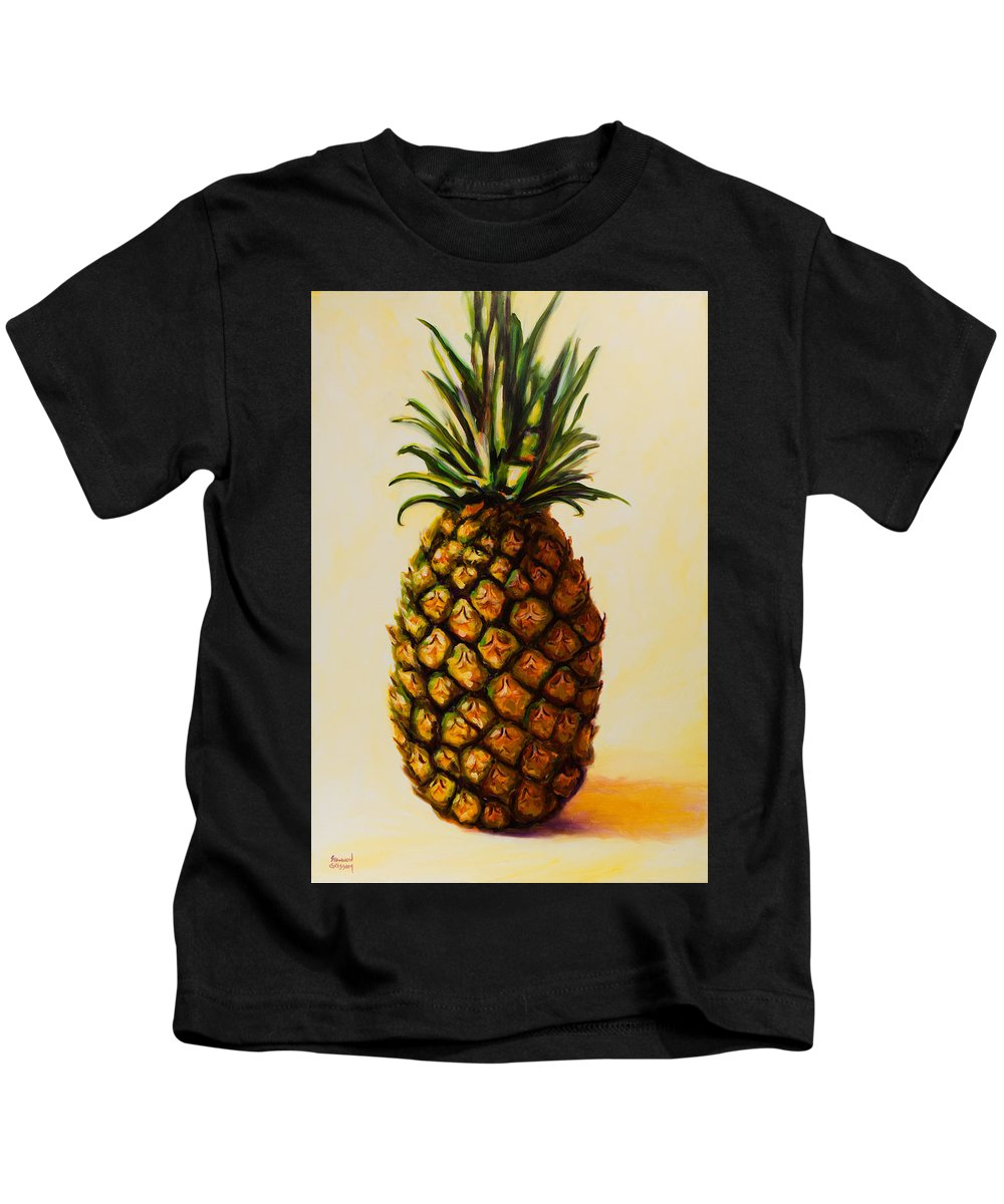 Pineapple Kids T-Shirt featuring the painting Pineapple Angel by Shannon Grissom