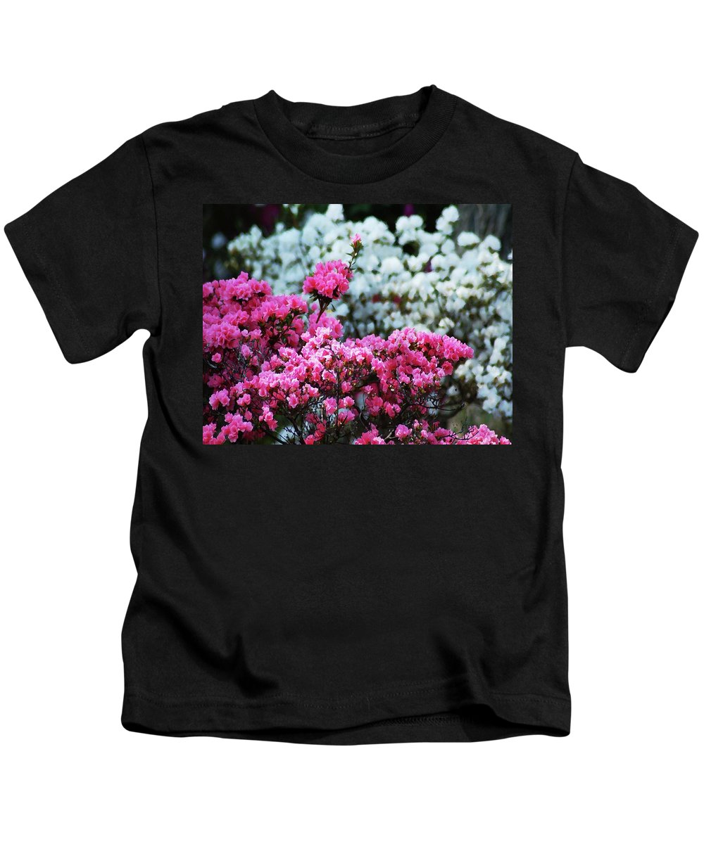 Alabama Photographer Kids T-Shirt featuring the digital art Pink And White Azelas by Michael Thomas