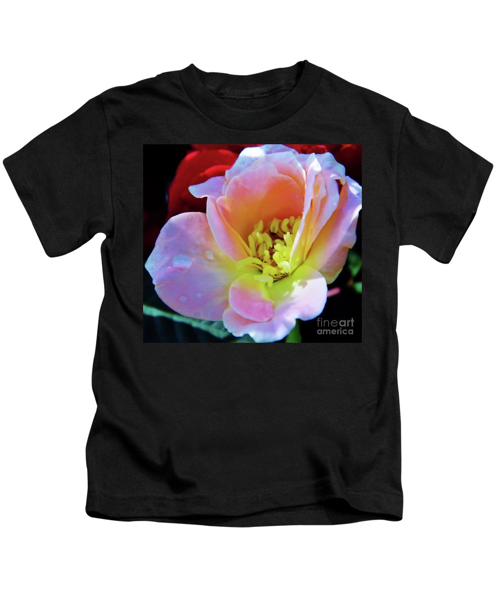 Roses Kids T-Shirt featuring the photograph Pink And Yellow by D Hackett