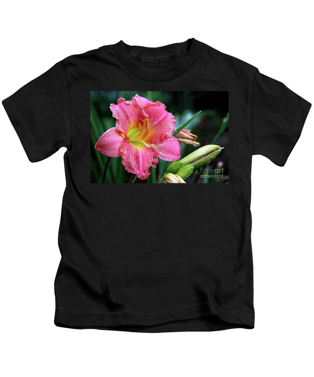 Arrangement Kids T-Shirt featuring the photograph Pink And Yellow Lily After Rain by Alan Look