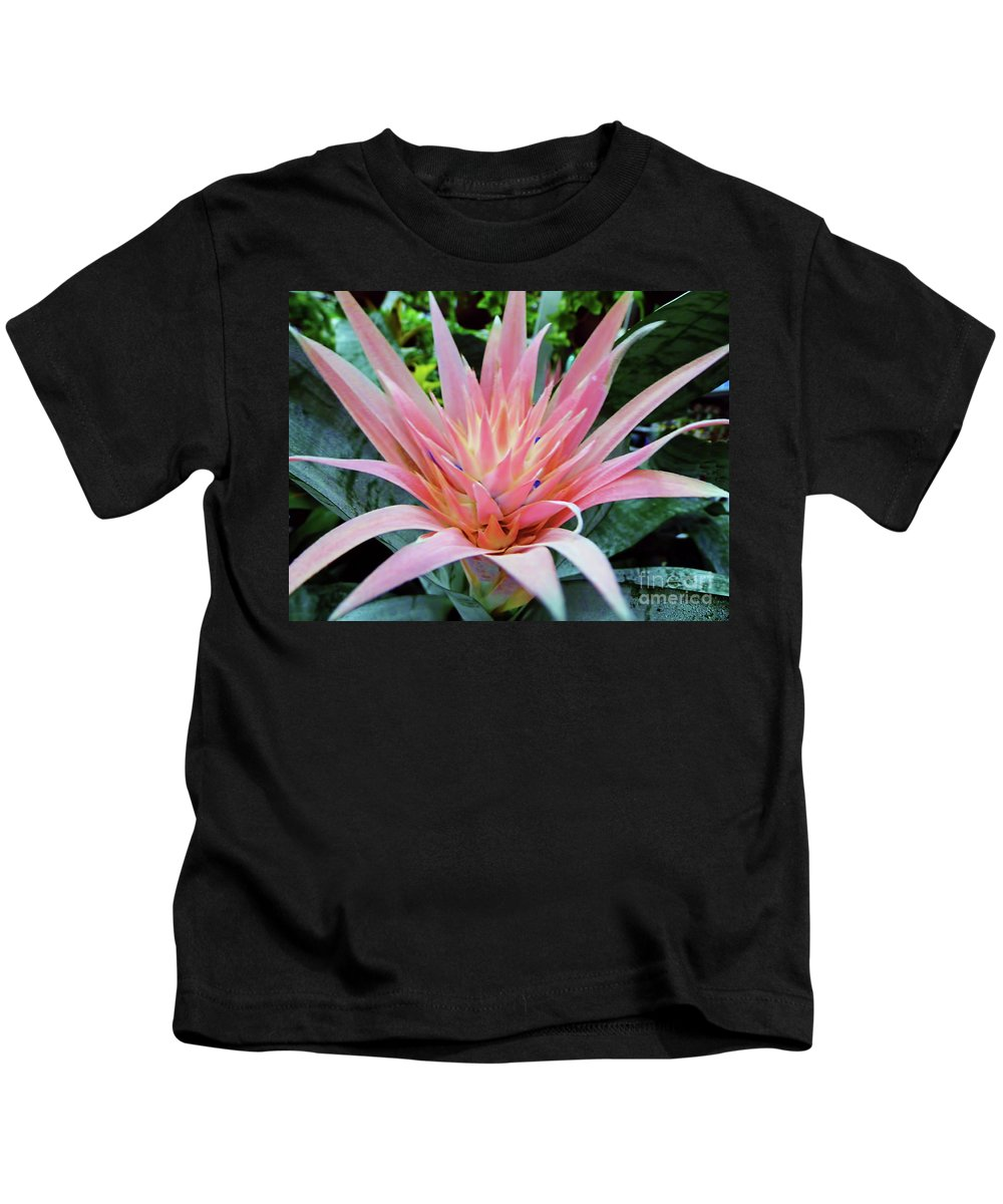Bromeliad Kids T-Shirt featuring the photograph Pink Bromeliad by D Hackett