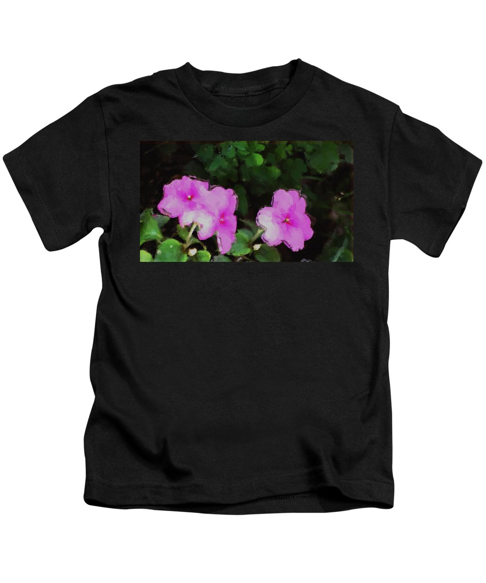 Digital Photograph Kids T-Shirt featuring the photograph Pink Floral Watercolor by David Lane