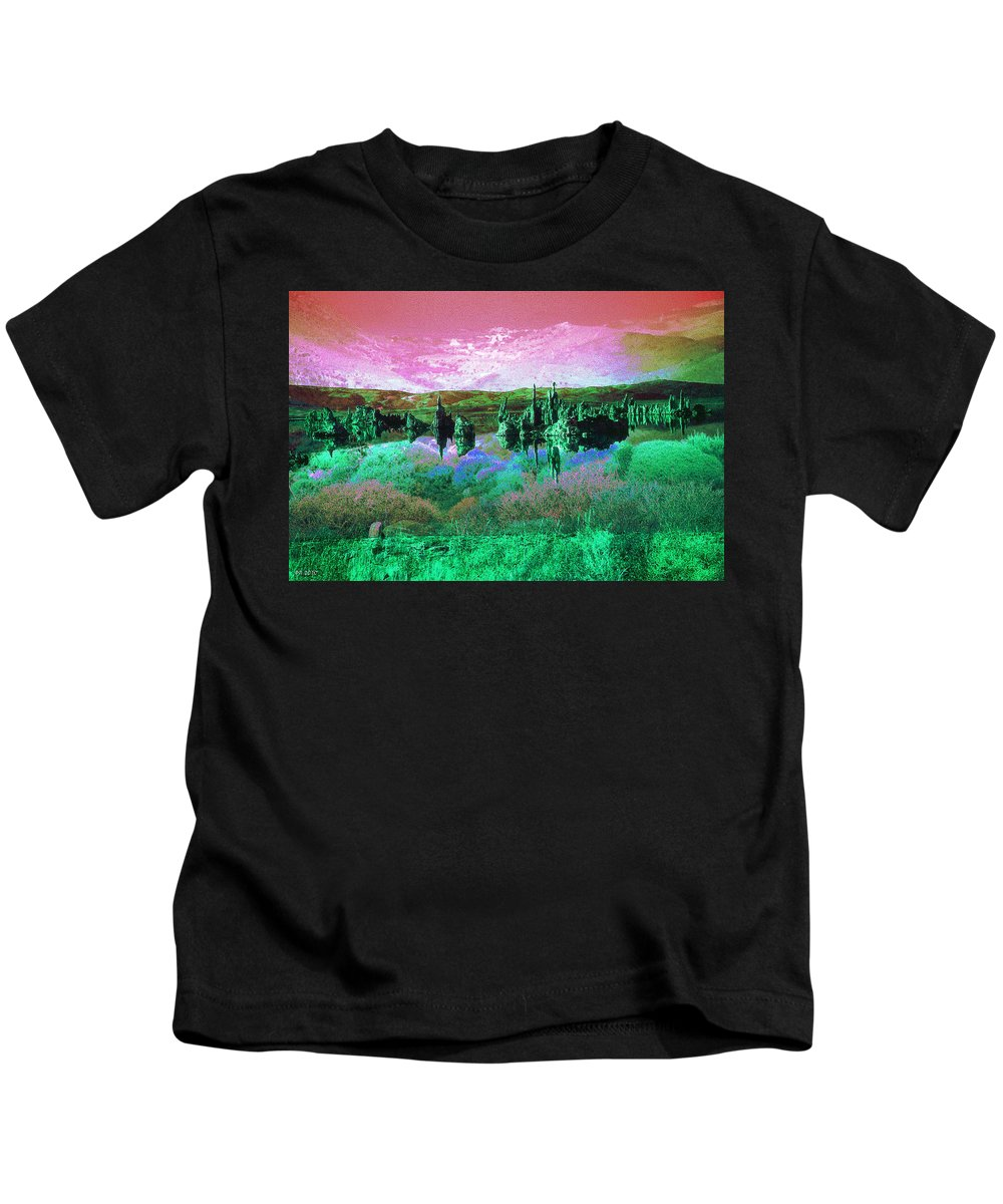 Landscape Kids T-Shirt featuring the photograph Pink Green Waterscape - Fantasy Artwork by Peter Potter