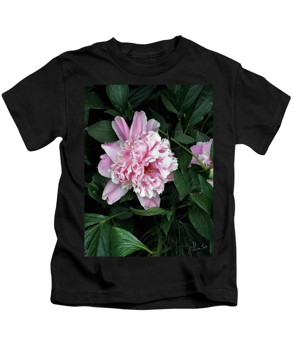 Peony Kids T-Shirt featuring the photograph Pink Peone by T Cook