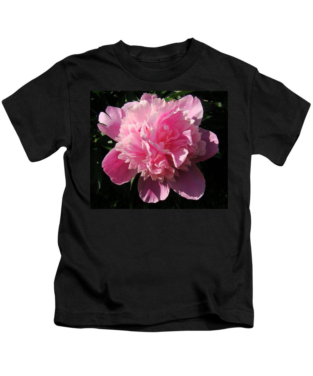 Flowers Kids T-Shirt featuring the photograph Pink Peony by Sandy Keeton