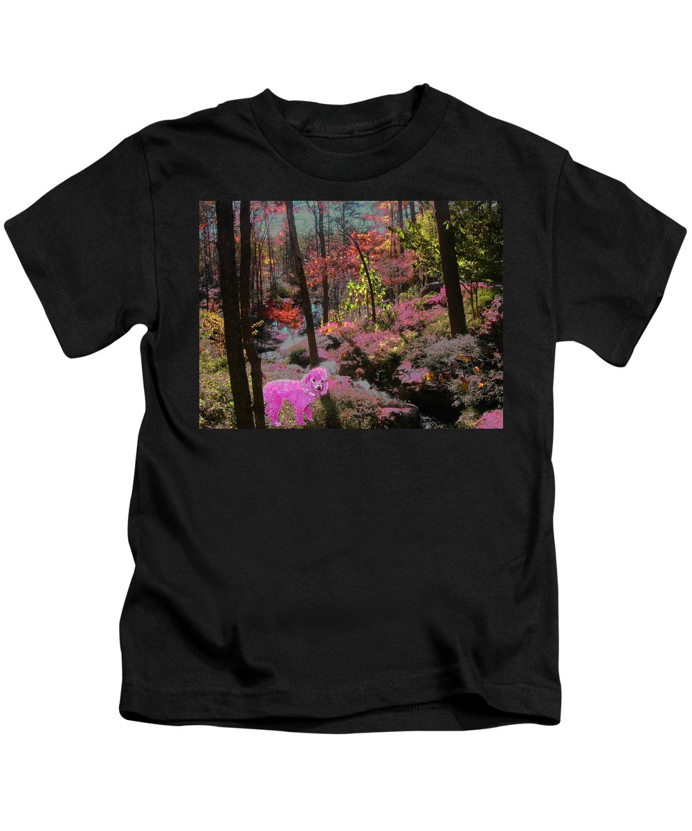 Pink Poodle Kids T-Shirt featuring the photograph Pink Poodle Paradise by Anne Cameron Cutri
