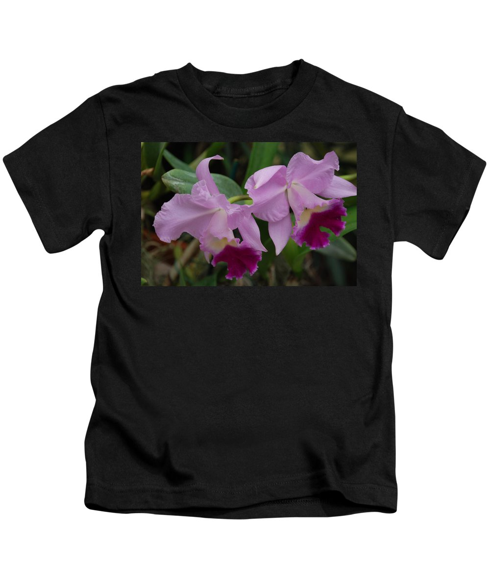 Macro Kids T-Shirt featuring the photograph Pink Purple Orchids by Rob Hans