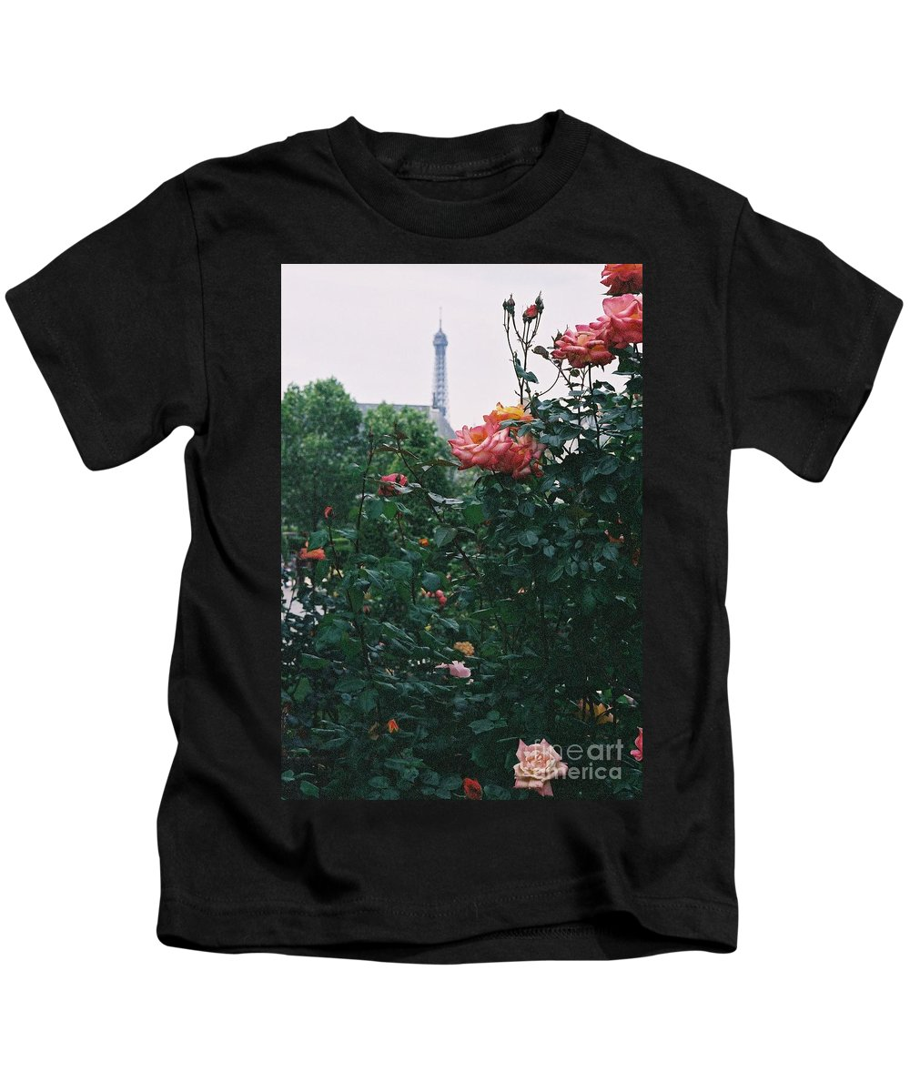 Roses Kids T-Shirt featuring the photograph Pink Roses And The Eiffel Tower by Nadine Rippelmeyer