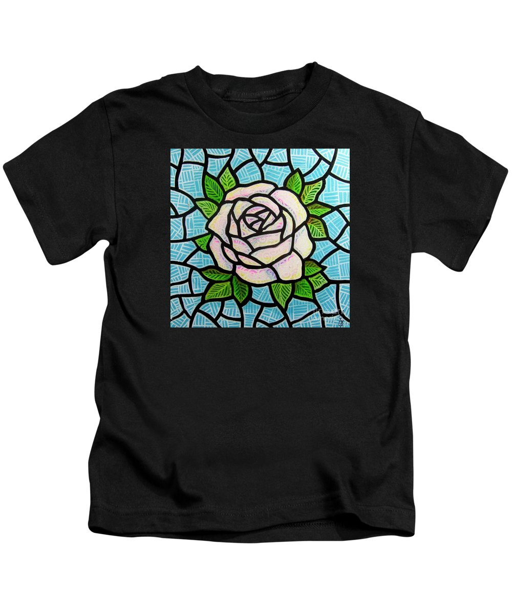 Rose Kids T-Shirt featuring the painting Pinkish Rose by Jim Harris