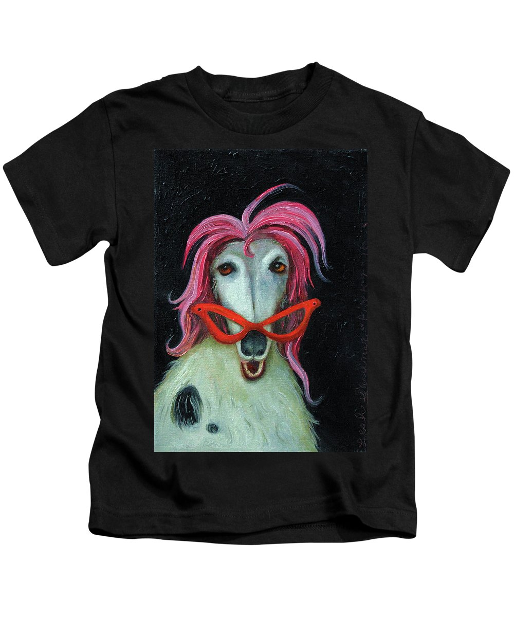 Dog Kids T-Shirt featuring the painting Pinky by Leah Saulnier The Painting Maniac