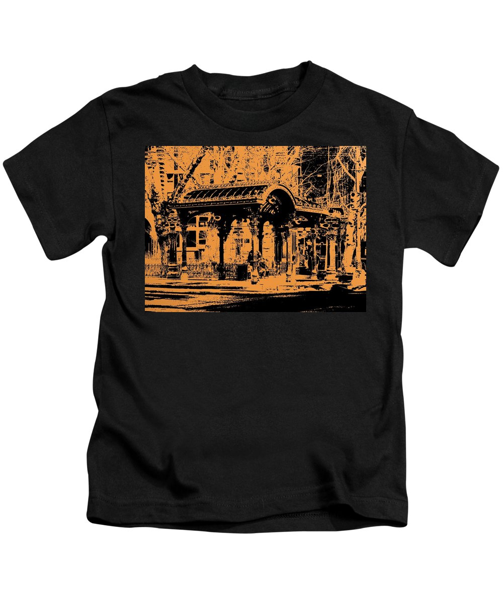 Seattle Kids T-Shirt featuring the digital art Pioneer Square Pergola by Tim Allen
