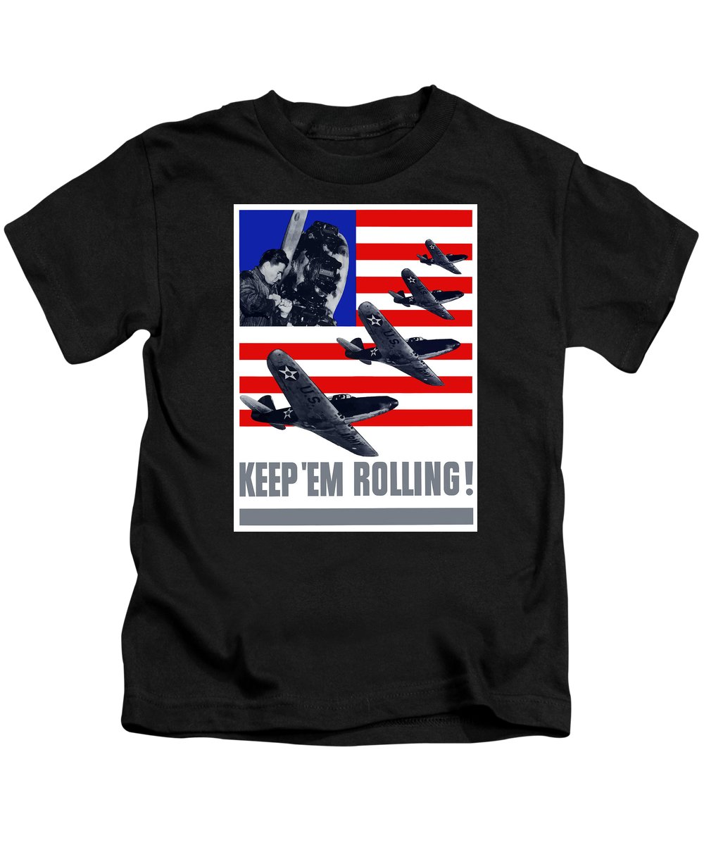 Fighter Plane Kids T-Shirt featuring the painting Planes -- Keep 'em Rolling by War Is Hell Store