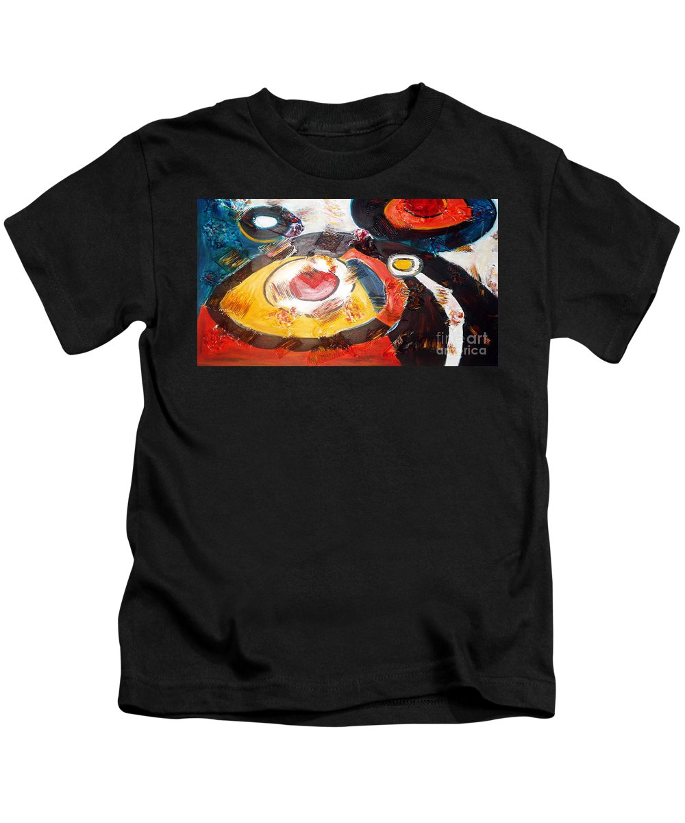 Acrylic Abstract Kids T-Shirt featuring the painting Planets Exploration by Yael VanGruber