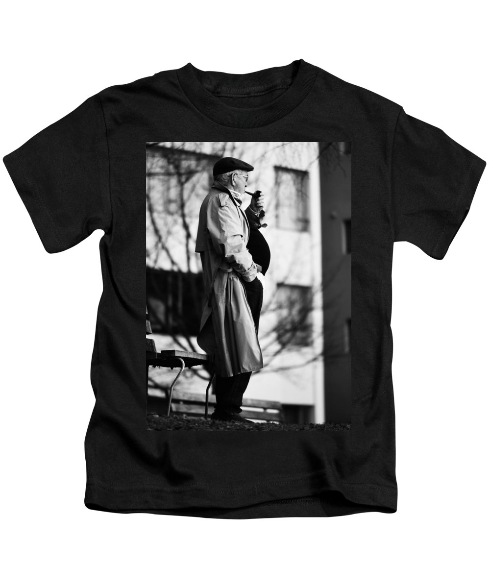 Street Photography Kids T-Shirt featuring the photograph Plans Held by The Artist Project