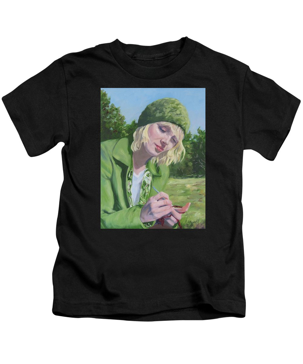 Figurative Kids T-Shirt featuring the painting Plein Air Crocheting by Connie Schaertl