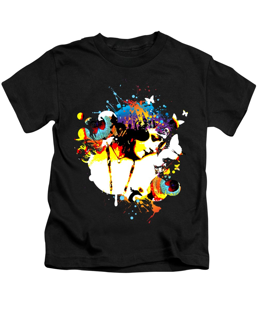Nostalgic Seduction Kids T-Shirt featuring the digital art Poetic Peacock by Chris Andruskiewicz