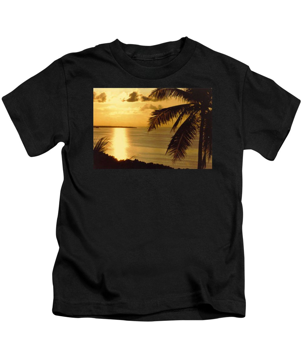 Palm Trees Kids T-Shirt featuring the photograph Pohnpei Sunset by Dina Holland