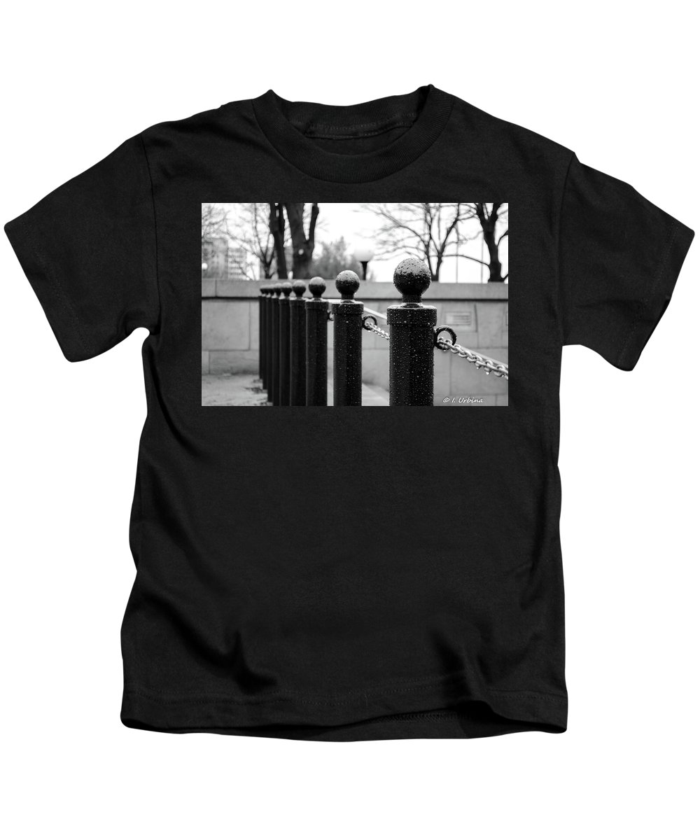 B&w Kids T-Shirt featuring the photograph Poles by Ivan Urbina