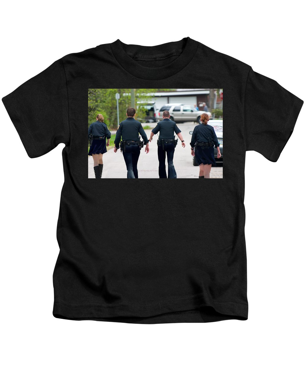 Police Kids T-Shirt featuring the photograph Police Pants by Gravityx9 Designs