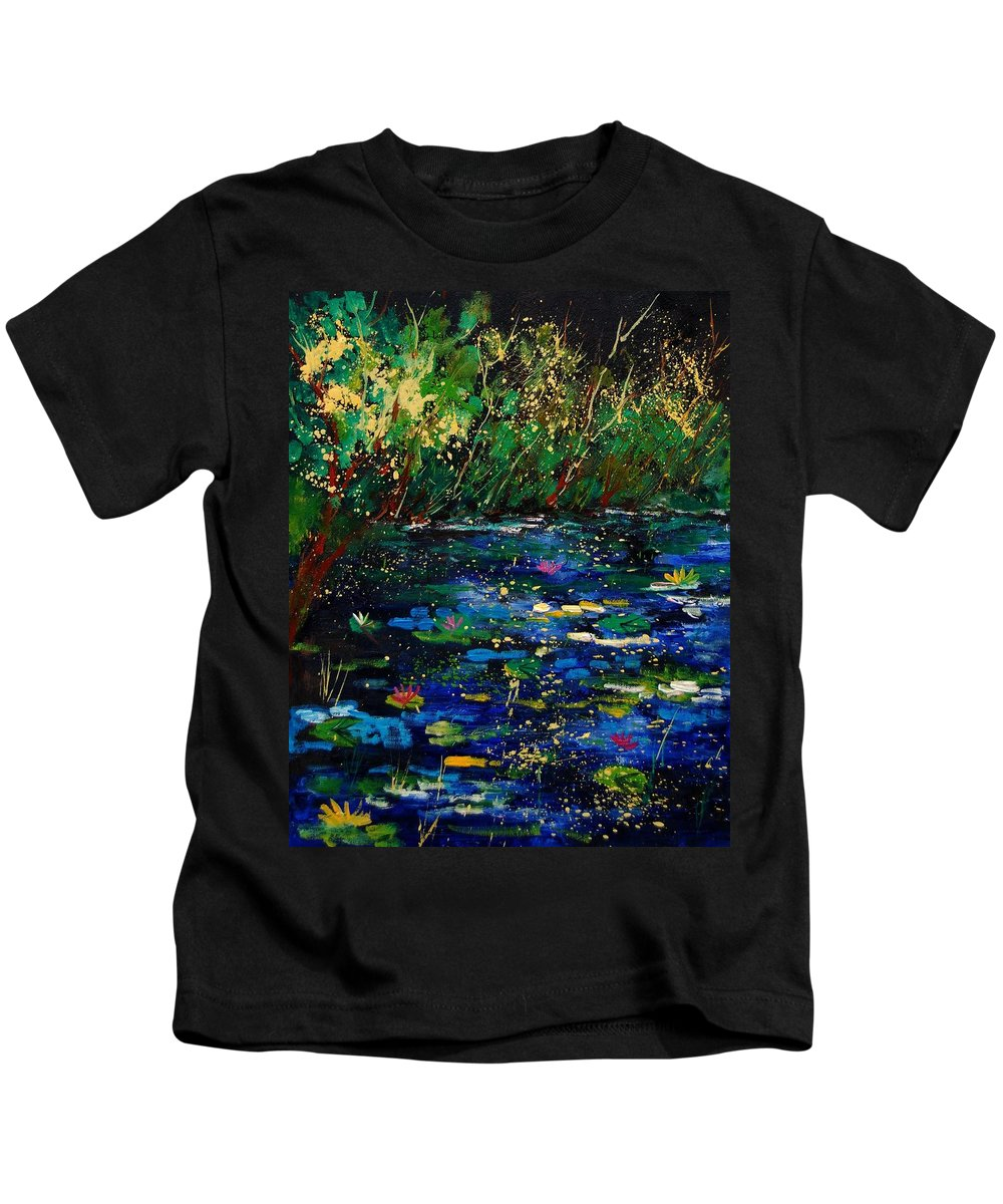 Water Kids T-Shirt featuring the painting Pond 459030 by Pol Ledent