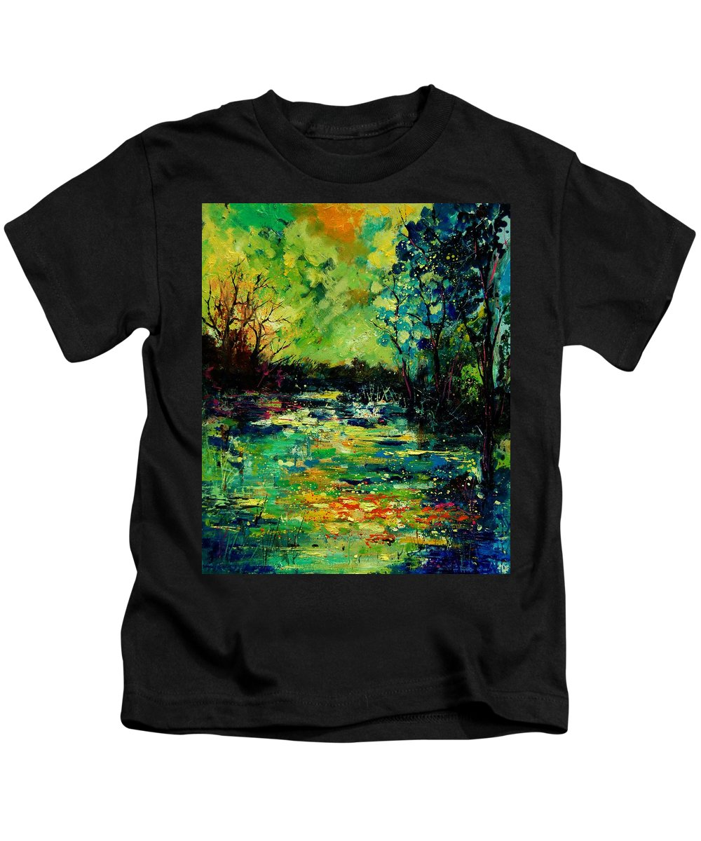Pond Kids T-Shirt featuring the painting Pond 560120 by Pol Ledent